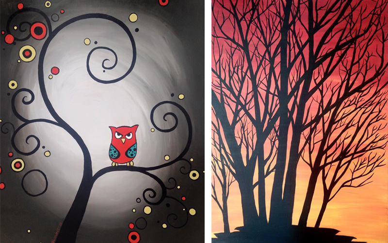 West Seattle Acrylic Painting Abstract Grumpy Owl and Sunset Trees