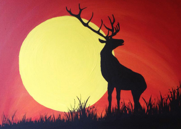 West Seattle Acrylic Painting Abstract Sunset Elk